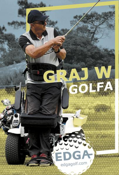 """Plakat akcji EDGA - """"Graj w golfa"""" przedstawiający golfistę na wózku."""